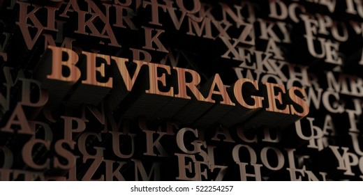 Beverages - Wooden 3D rendered letters/message.  Can be used for an online banner ad or a print postcard.