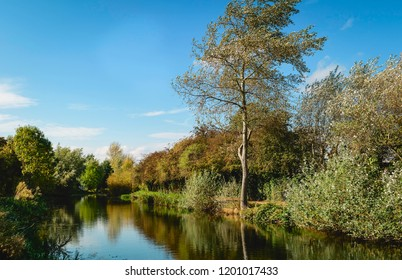 Beverley, Yorkshire, UK. The beck (canal) flanked by thick vegetation and trees in autumn colours on a peaceful day in Beverley, Yorkshire, UK.