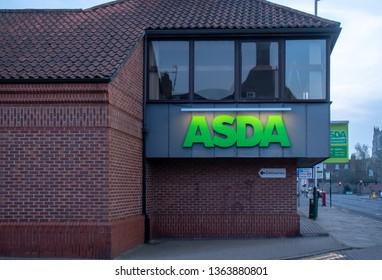 Beverley,England - April, 5, 2019: entrance to Asda supermarket in the center of Beverley