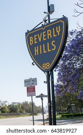 Beverly Hills, CA: 5/12/2017: Beverly Hills sign at the border of West Hollywood and Beverly Hills.  Beverly Hills was incorporated in 1914.