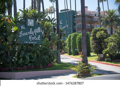 Beverly Hills, CA: August 9, 2019:  The Beverly Hills Hotel in Beverly Hills.  Beverly Hills is an upscale city in Los Angeles County.
