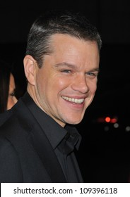 "BEVERLY HILLS, CA - DECEMBER 3, 2009: Matt Damon at the Los Angeles premiere of his new movie ""Invictus"" at the Academy of Motion Picture Arts & Sciences Theatre."