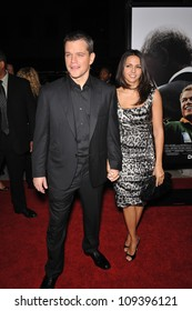 "BEVERLY HILLS, CA - DECEMBER 3, 2009: Matt Damon & wife Luciana Barroso at the Los Angeles premiere of his new movie ""Invictus"" at the Academy of Motion Picture Arts & Sciences Theatre."