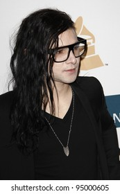 BEVERLY HILLS, CA - FEB 11: Skrillex at the Clive Davis and the Recording Academy's 2012 Pre-GRAMMY Gala on February 11, 2012 in Beverly Hills, California