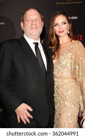 BEVERLY HILLS, CA - JAN. 10: Harvey Weinstein & Georgina Chapman arrive at the Weinstein Company/Netflix 2016 Golden Globes After Party, Jan. 10, 2016 at the Beverly Hilton Hotel, Beverly Hills, CA.