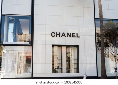 Beverly Hills, CA: July 14, 2016: Exterior of Chanel store in Beverly Hills. Chanel is a French luxury retailer with revenue of $5.2 billion in 2016.