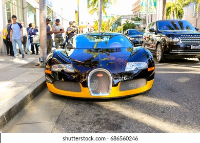 BEVERLY HILLS, CA - JUNE 10, 2017: Bugatti Veyron 16.4 owned by fashion designer Bijan parked on Rodeo Drive
