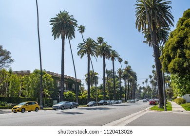 Beverly Hills, CA: June 21, 2018: Residential area of Beverly Hills, CA.  Beverly Hills is an upscale city in Southern California.