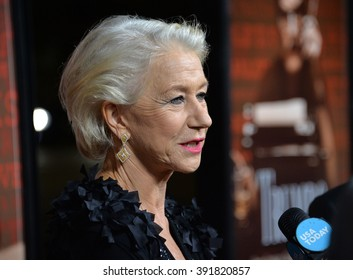 """BEVERLY HILLS, CA - OCTOBER 27, 2015: Dame Helen Mirren at the US premiere of her movie """"Trumbo"""" at the Academy of Motion Picture Arts & Sciences"""