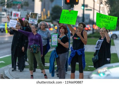 BEVERLY HILLS, CA - OCTOBER 6, 2018:  Protesters took to the streets to protest newly appointed Justice Brett Kavanaugh to the Supreme Court,.