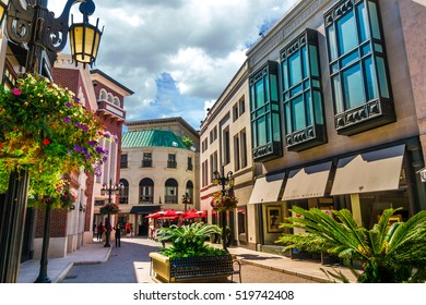 BEVERLY HILLS, CA - Sept 8: Rodeo Drive in Beverly Hills on September 8, 2015. Rodeo Drive is an affluent shopping district known for designer label and haute couture fashion.