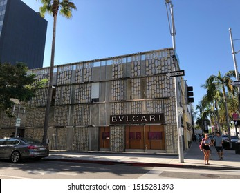 Beverly Hills, CA: September 14, 2019:   Exterior of a Bvlgari (Bulgari S.p.A) store in the district of Ginza in Tokyo, Japan. Bvlgari is a luxury retail brand with about 300 stores worldwide.
