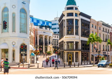BEVERLY HILLS, CA - September 8, 2015: Rodeo Drive in Beverly Hills on September 8, 2015. Rodeo Drive is an affluent shopping district known for designer label and haute couture fashion.