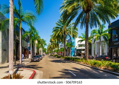 BEVERLY HILLS, CA - September 8, 2015: Rodeo Drive in Beverly Hills; Rodeo Drive is an affluent shopping district known for designer label and haute couture fashion.