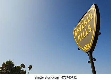 Beverly Hills, CA USA - August 18, 2016: The Beverly Hills shield on Santa Monica Boulevard. These shields are located around city line of Beverly Hills