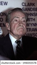 Beverly Hills, California - Circa 1992: Former U.S. President Richard Nixon leaves the Beverly Wilshire Hotel.