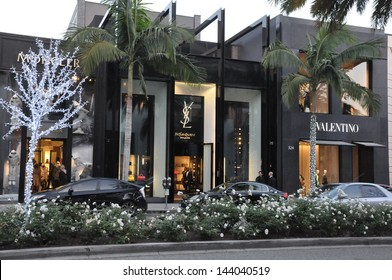 BEVERLY HILLS, CALIFORNIA - DECEMBER 7: YSL & Valentino stores at Rodeo Drive as seen on December 7, 2012 in Beverly Hills, California. There are more than 100 world-renowned boutiques in this area.
