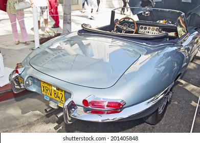 BEVERLY HILLS, CALIFORNIA - JUNE 15, 2014: 1962 Jaguar XKE Roadster owned by Steve Russell at the Rodeo Drive Concours D'Elegance on June 15, 2014 Beverly Hills, California, USA
