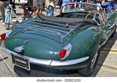 "BEVERLY HILLS, CALIFORNIA - JUNE 15, 2014: 1956 Jaguar XKSS ""Steve McQueen""   owned by Peterson Auto Museum at the Rodeo Drive Concours D'Elegance on June 15, 2014 Beverly Hills, California, USA"