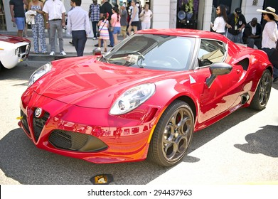 BEVERLY HILLS, CALIFORNIA - JUNE 21, 2015: New Alpha Romeo 4C coupe on display at the Rodeo Drive Concours D'Elegance on June 21, 2015 Beverly Hills, California, USA