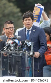 BEVERLY HILLS, CALIFORNIA - MARCH 12, 2018:  California State Senator Kevin DeLeon speaks at the Defend Dreamers Rally hosted by Coalition for Humane Immigrant Rights.
