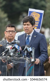 BEVERLY HILLS, CALIFORNIA - MARCH 12, 2018: California State Senator Kevin DeLeon speaks at the Defend Dreamers Rally hosted by Coalition for Humane Immigrant Rights (CHIRLA).