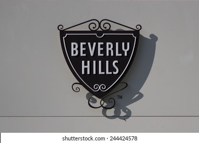 BEVERLY HILLS, CALIFORNIA - NOV 10 2014: The famous Beverly Hills symbol and sign on the exterior of the Beverly Hills Police Station.