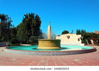 Beverly Hills, California - October 11, 2019: Beverly Hills Electric Fountain located on the corner of Santa Monica and Wilshire Boulevards, Beverly Hills