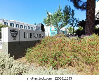 BEVERLY HILLS, California - September 16, 2018: BEVERLY HILLS Public Library on N. Rexford Drive