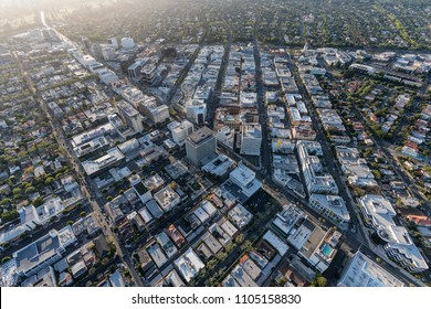 Beverly Hills, California, USA - April 18, 2018:  Aerial view of famous Golden Triangle business district including Rodeo Drive and Wilshire Bl.