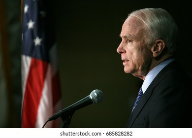 Beverly HIlls, California, USA; May 28, 2008; Republican Presidential Candidate John McCain speaks during a press conference at the Beverly Hilton.