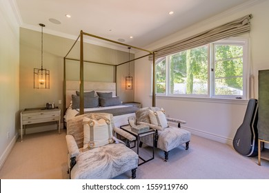 Beverly Hills, California / USA - October 18th, 2019: A real estate photography shoot of a luxury home to be sold.