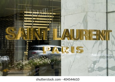 BEVERLY HILLS, CA/USA - APRIL 10, 2016: Saint Laurent Paris retail store exterior on famed Rodeo Drive.