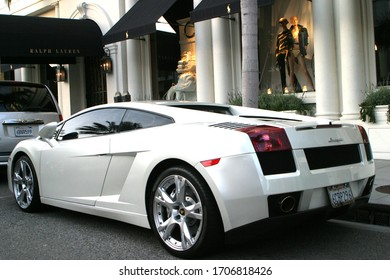 Beverly Hills, CA-USA March17, 2013 White Lamborghini Gallardo