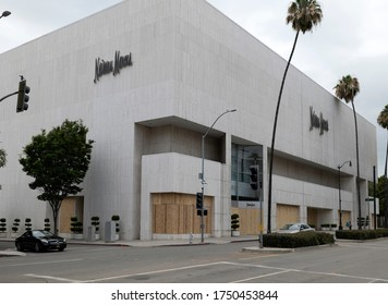 Beverly Hills, CA/USA - Neiman Marcus store in Beverly Hills is boarded up after being looted during the Black Lives Matter protests