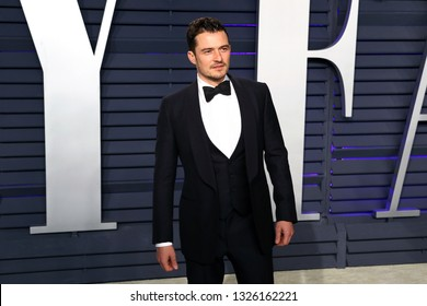 BEVERLY HILLS - FEB 24: Orlando Bloom at the 2019 Vanity Fair Oscar Party at The Wallis Annenberg Center for the Performing Arts on February 24, 2019 in Beverly Hills, CA