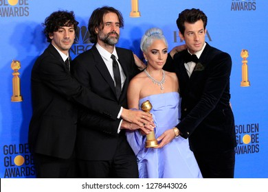 BEVERLY HILLS - JAN 6: Anthony Rossomando, Andrew Wyatt, Lady Gaga, Mark Ronson at the 76th Annual Golden Globe Awards at The Beverly Hilton Hotel on January 6, 2019 in Beverly Hills, California