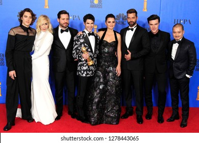 BEVERLY HILLS - JAN 6: Cody Fern, Judith Light, Edgar Ramirez, Darren Criss, Penelope Cruz, Ricky Martin,Finn Wittrock,Jon Jon Briones at the Golden Globe Awards on January 6, 2019 in Beverly Hills,CA