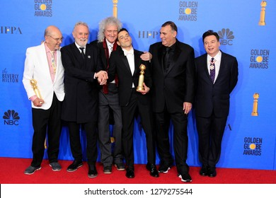 BEVERLY HILLS - JAN 6: Jim Beach, Roger Taylor, Brian May, Rami Malek, Graham King, Mike Myers at the 76th Annual Golden Globe Awards at The Beverly Hilton Hotel on January 6, 2019 in Beverly Hills,CA