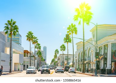 Beverly Hills, Los Angeles, California, USA- September 23, 2018:  Urban views of the Beverly Hills area and residential buildings on the Hollywood hills. California. USA.