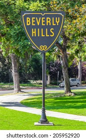 BEVERLY HILLS, US - OCT 21 2013: Beverly Hills sign in Los Angeles seen on October 21, 2013 in Beverly Hills, California USA.