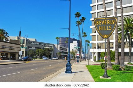 BEVERLY HILLS, US -  OCTOBER 16: A Beverly Hills sign in Wilshire Boulevard on October 16, 2011 in Beverly Hills, US. The affluent city has a population of 34,109 at the 2010 census