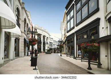 BEVERLY HILLS, US - SEPTEMBER 12: Two Rodeo in Rodeo Drive on September 12, 2015 in Beverly Hills, US. There are more than 100 world-reknowed boutiques in this area