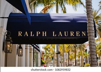Beverly Hills / USA - 05.03.18 : Ralph Lauren logo on Rodeo Drive, Beverly Hills