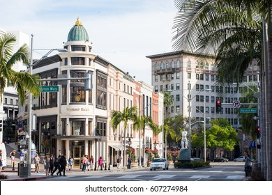 BEVERLY HILLS, USA - July 14, 2016: View of Rodeo Drive on July 14, 2016. Rodeo Drive is an upscale shopping district famous for luxury stores and fine-dining.