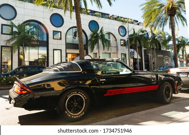 Beverly Hills, Year 2017: Black Chevrolet Camaro Z28 parked on Ocean Drive. Classic Muscle Car.