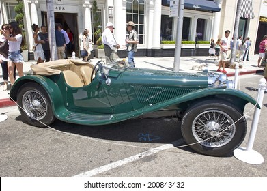 "BEVERLY HILLS/CALIFORNIA - JUNE 15, 2014: 1937 Jaguar SS100 roadster ""Mel Torme"" owned by Peterson Auto Museum at the Rodeo Drive Concours D'Elegance June 15, 2014 Beverly Hills, California, USA"