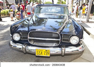 BEVERLY HILLS/CALIFORNIA - JUNE 15, 2014: 1957 Dual Ghia Convertible owned by Irwin Thaler at the Rodeo Drive Concours D'Elegance June 15, 2014 Beverly Hills, California, USA