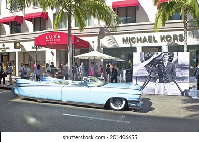 BEVERLY HILLS/CALIFORNIA - JUNE 15, 2014: 1959 Cadillac El Dorado Biarritz Convertible owned by John D'Agostino at the Rodeo Drive Concours D'Elegance on June 15, 2014 Beverly Hills, California, USA