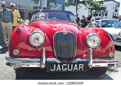 BEVERLY HILLS/CALIFORNIA - JUNE 16, 2013: Classic XK 150 Jaguar on display at the Concours D'Elegance June 16, 2013 Beverly Hills, California USA